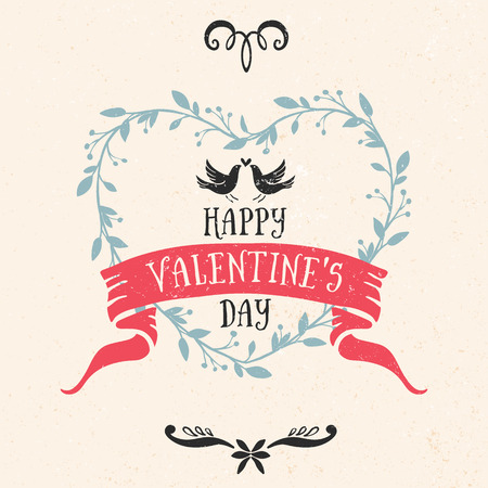 Valentines day greeting card with birds, lettering and other decorative elements. Vector hand drawn illustration. Illustration