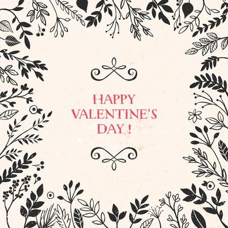 Valentijnsdag wenskaart met belettering en het frame van plantaardige decoratieve elementen. Vector hand getrokken illustratie.