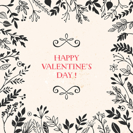 Valentines day greeting card with lettering and frame of plant decorative elements. Vector hand drawn illustration.