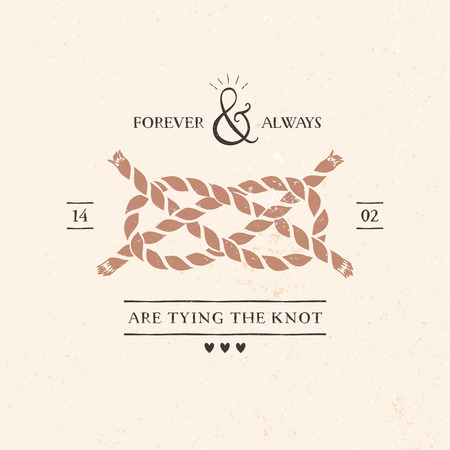 hand knot: Wedding invitation card with knot, lettering and other decorative elements. Vector hand drawn illustration.