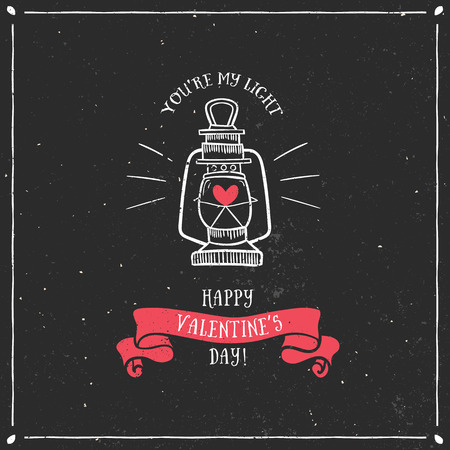 Valentines day greeting card with lamp and lettering on chalkboard. Vector hand drawn illustration. Vector