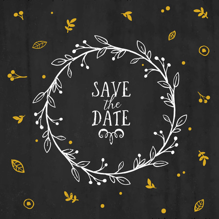 Save the Date card with wreath, lettering and other decorative elements. Vector hand drawn illustration.