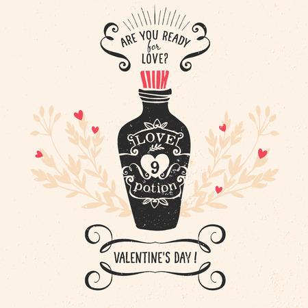 pocion: Tarjeta de felicitación del día de San Valentín con letras y otros elementos decorativos. Vector dibujado a mano ilustración.