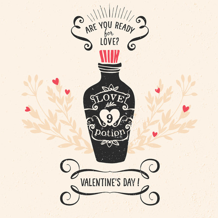 Valentines day greeting card with lettering and other decorative elements. Vector hand drawn illustration.