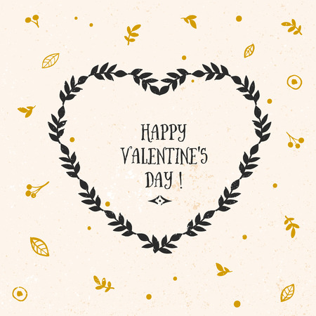 Valentines day greeting card with lettering and other decorative elements. Vector hand drawn illustration