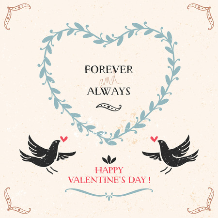 Valentines greeting card with birds and lettering Illustration