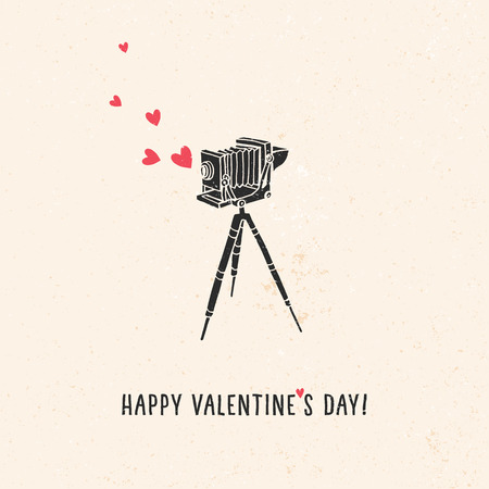 vintage camera: Valentines greeting card with old vintage camera