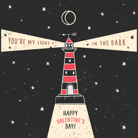 lighthouse at night: Valentines day greeting card with lighthouse and lettering on chalkboard. Vector hand drawn illustration. Illustration
