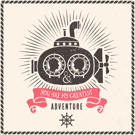 submarino: Pares del amor en tarjeta de felicitación submarino con letras. Vector dibujado a mano ilustración.