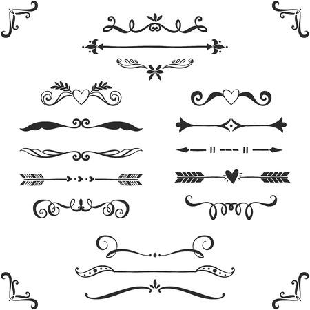 lineas decorativas: Vintage colecci�n divisores de texto decorativos. Dibujado a mano elementos de dise�o vectorial. Vectores