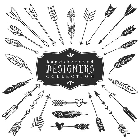 Vintage decorative arrows and feathers collection. Hand drawn vector design elements. Vector