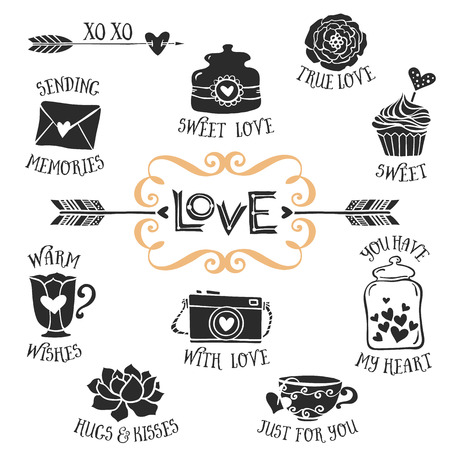xoxo: Vintage decorative love badges with lettering. Hand drawn vector design elements.