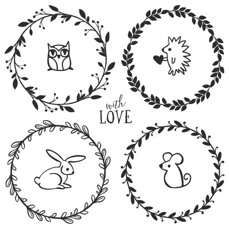 Hand drawn rustic vintage wreaths with lettering and cute little animals. Floral vector graphic. Nature design elements.