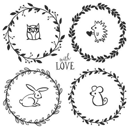 Hand getrokken rustieke vintage kransen met belettering en schattige kleine dieren. Floral vector graphic. Natuur design elementen. Stock Illustratie