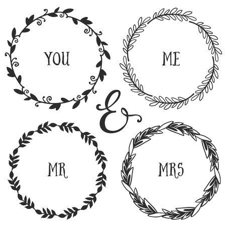 mrs: Hand drawn rustic vintage wreaths with lettering. Floral vector graphic. Nature design elements.