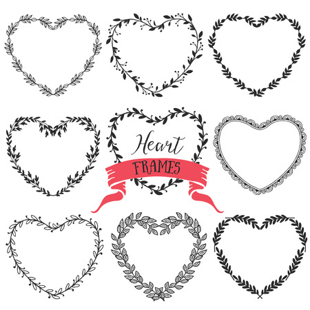 Hand drawn rustic vintage heart wreaths. Floral vector graphic. Nature design elements.