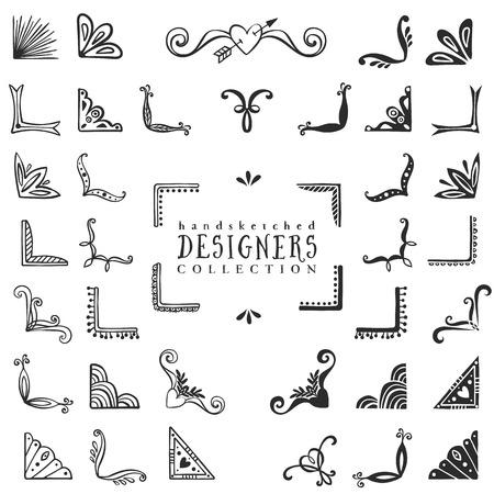 ヴィンテージ装飾コーナー コレクション。手には、ベクター デザイン要素が描画されます。