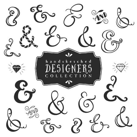 doodle frame: Vintage decorative ampersands collection. Hand drawn vector design elements. Illustration