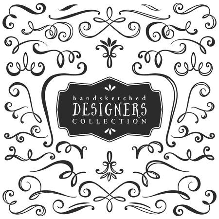 schriftrolle: Weinlese-dekorative Locken und wirbelt Sammlung. Hand gezeichnet Vektor-Design-Elemente. Illustration