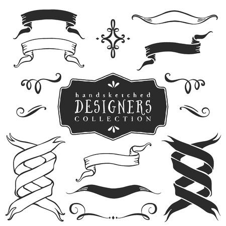 ヴィンテージ装飾リボン バナー コレクション。手には、ベクター デザイン要素が描画されます。