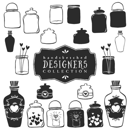 Vintage decorative jars with hearts collection. Hand drawn vector design elements. Illustration