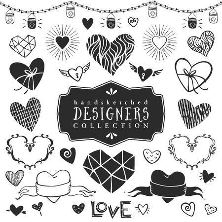 Vintage decorative hearts collection. Hand drawn vector design elements. Ilustração
