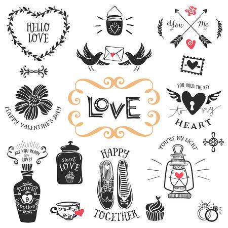 Vintage decorativos insignias de amor con letras. Dibujado a mano elementos de diseño vectorial.