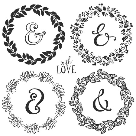 Hand drawn rustic vintage wreaths with lettering and ampersand. Floral vector graphic. Nature design elements.