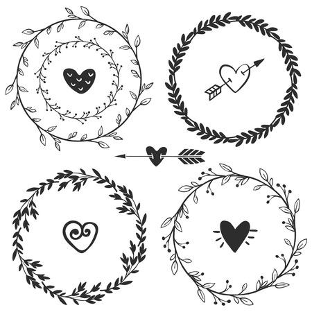 Dibujado a mano coronas rústicas de época con corazones. Gráfico floral del vector. Elementos de diseño de la naturaleza.