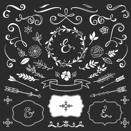 esquineros de flores: Elementos decorativos de la vendimia con las letras. Establece Mano vector dibujado dise�o de la boda.