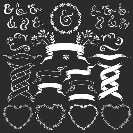 Vintage decorative elements with lettering. Hand drawn vector design wedding set. Ilustração