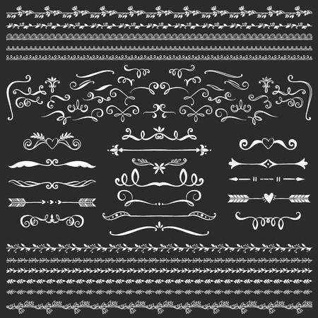 ヴィンテージ装飾的なカールし、コレクションの渦巻き。手は、黒板でベクター デザイン要素を描画します。  イラスト・ベクター素材