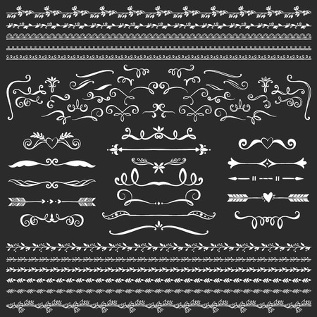 sketched shapes: Vintage decorative curls and swirls collection. Hand drawn vector design elements on blackboard.