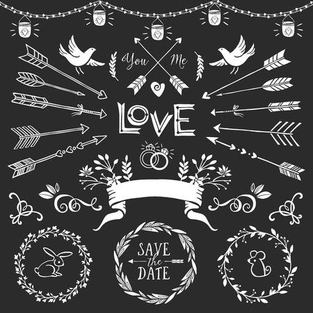 ślub: Zabytkowe elementy dekoracyjne z napisami. Wyciągnąć rękę wektor projektowania ślub ustawiony.