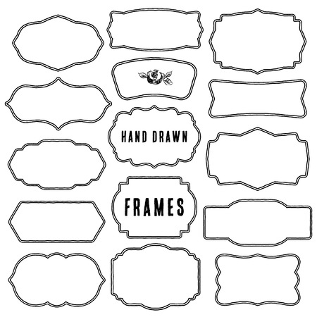 Set of vintage contour blank frames and labels. Hand drawn vector illustration. Çizim