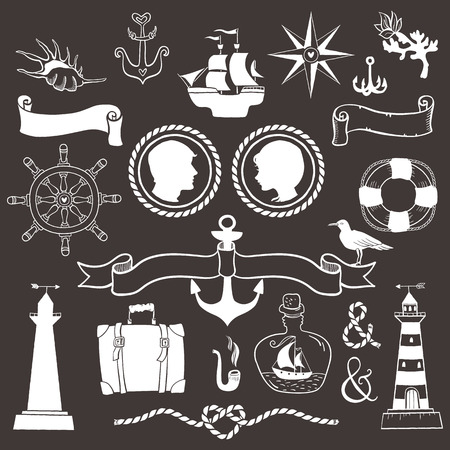 anchor man: Marine romantic travel. Vintage hand drawn elements in nautical style.