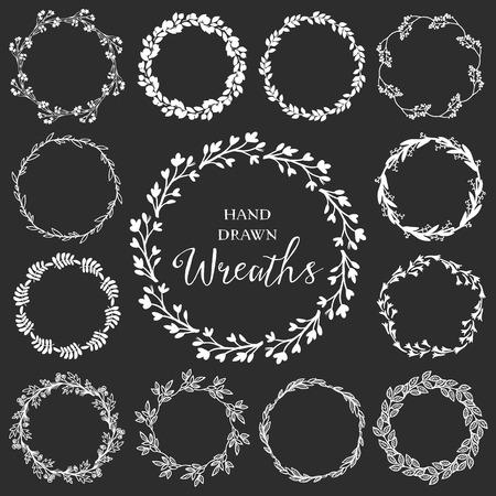 Vintage set of hand drawn rustic wreaths. Floral vector graphic on blackboard. Nature design elements. Stock fotó - 39533465