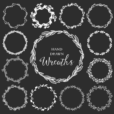 手描きの素朴な花輪のヴィンテージのセットです。黒板に花のベクトル グラフィック。自然のデザイン要素です。 写真素材 - 39565857