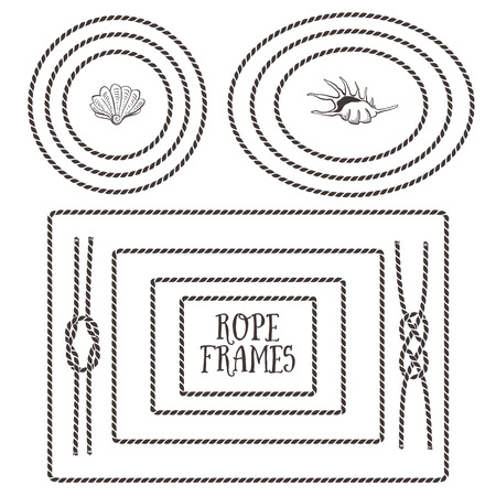 Rope frames, borders, knots. Hand drawn decorative elements in nautical style. Vettoriali