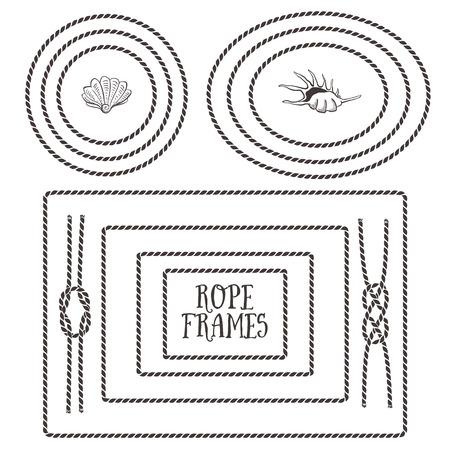 nudo: Marcos de cuerda, las fronteras, los nudos. Dibujado a mano elementos decorativos en estilo n�utico.