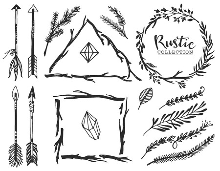 Rustic decorative elements with arrow and lettering. Hand drawn vintage vector design set. Ilustração