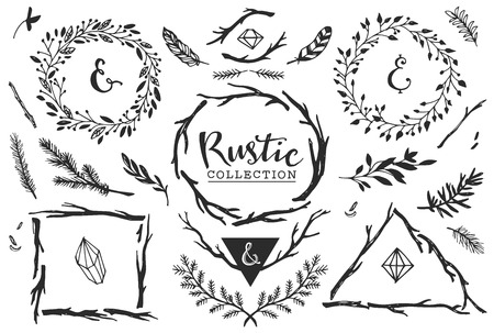 botanical drawing: Rustic decorative elements with lettering. Hand drawn vintage vector design set.