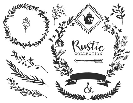 Rustic decorative elements with lettering. Hand drawn vintage vector design set.