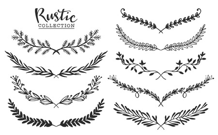 botanical: Vintage set of hand drawn rustic laurels. Floral vector graphic. Nature design elements.