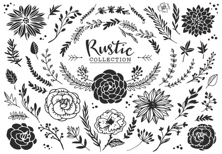decorative card symbols: Rustic decorative plants and flowers collection. Hand drawn vintage vector design elements. Illustration