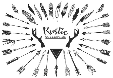 a feather: Rustic decorative antlers, arrows and feathers. Hand drawn vintage vector design set.