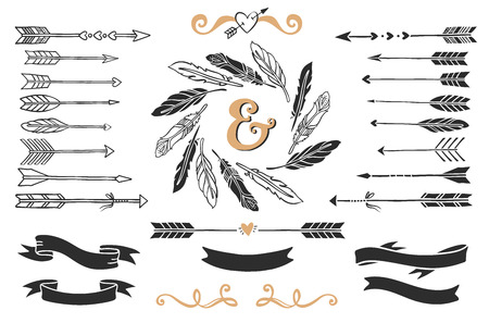 Hand drawn vintage arrows, feathers, and ribbons with lettering. Romantic vector design wedding set.