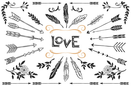 Hand drawn vintage arrows, feathers, and flowers with lettering. Romantic vector design wedding set.