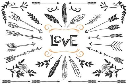 Hand getrokken uitstekende pijlen, veren en bloemen met belettering. Romantische vector ontwerp bruiloft ingesteld.