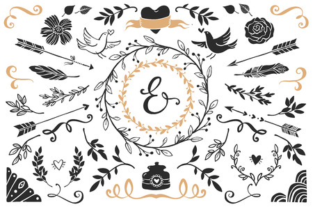 a feather: Hand drawn vintage decorative elements with lettering. Romantic vector design wedding set.